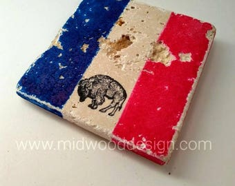 Buffalo NY pride blue and red stone tile coasters set of 4