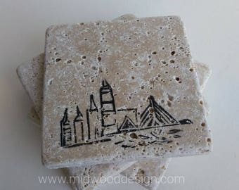 Boston city skyline stone tile travertine coasters set of 4