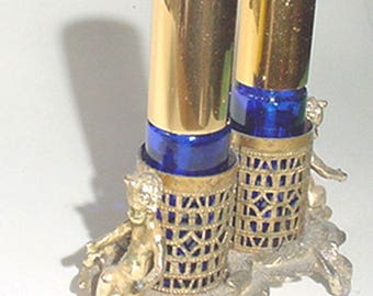 Perfumes - Cobalt Pair of Perfumes - Spray Type - in Fancy Footed Holder with Cherubs Decor