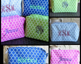 Personalized Cosmetic  Bags Quatrefoil Embroidered Makeup Bag, Travel Toiletry  Makeup Case  Bag, Personalized Bridesmaid Gift Teacher Gift