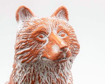Terracotta wolf sculpture - Watching the Moon Rise