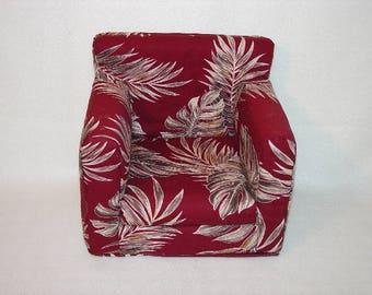 18 Inch Doll Chair  Burgundy, Hawaiian Tropical Foliage, Palm Leaves