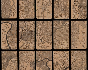 Cities H-O city map letterpress notepad
