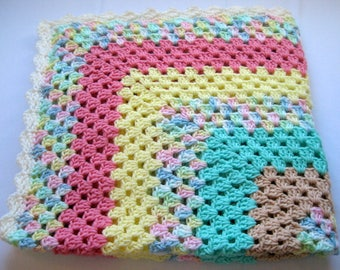 Handmade Crochet Lap Robe with Flower Headband