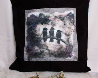 Three Crows on a Branch Pillow Cover based on an Original Felted Painting