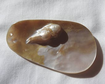 """One Natural Blister Pearl Pendant Oval 2 1/2"""" Long 1mm Hole P19"""