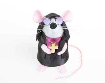 NEW Ozzy Osbourne Mouse - LIMITED EDITION Heavy Metal inspired collectable Rock and Roll Music art rat artists mice felt mouse sculpture toy