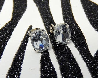 Rhinestone Diamond Stud Earrings, Faux Bling Oval Earrings, Fake Diamond Studs