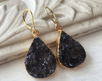 Charcoal Druzy Drop Earrings,Gray Druzy Earrings,Drusy Drop Earrings,Gold Filled Drop Earrings,Organic Earrings,gift for her,gift under 100