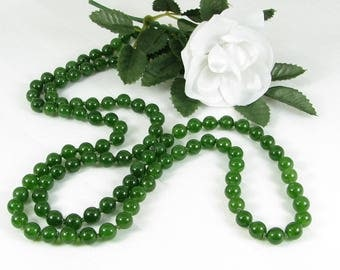 Long Hand-Knotted Canadian Jade Necklace