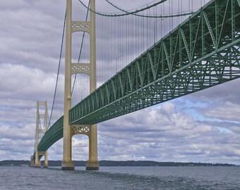 Mackinac Bridge, Fine Art Print, Bridge Photograph, Michigan Decor, Mighty Mac Photo, Under The Bridge, Wall Decor, Den Print Vertical Photo