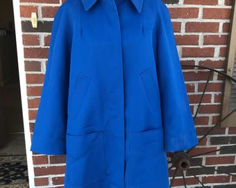 Women large Vintage Blue Trench Swing Jacket Madeline Coat Water Resistant Lined