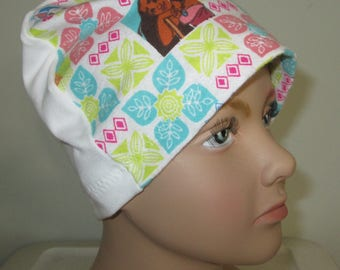 Kids  Flannel Moana Sleep Cap, Alopecia Cancer Hat Chemo Hat