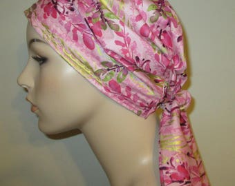 Pink Floral Vines Print PreTied Chemo Hat, Cancer Scarf, Modest Hat Alopecia