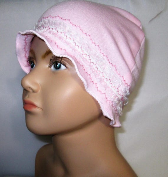 Kids Child Chemo Bonnet Cancer Pink w Lace Alopecia, Turban