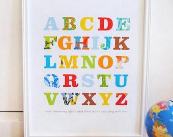 Alphabet Print Primary Colors, modern wall art, nursery decor, baby print, kids room, modern nursery print, ready to ship - SMALL size