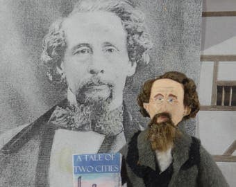 Charles Dickens Doll Miniature Author Literature Art British Author by Uneek Doll Designs