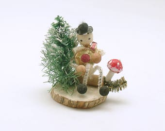 Vintage Christmas Decoration Snowman Mushroom Spun Cotton