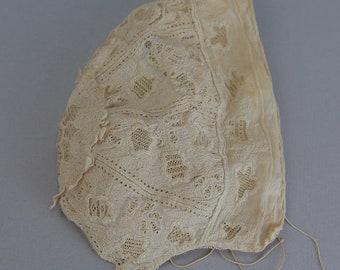 Antique Victorian ayreshire lace baby bonnet 1850