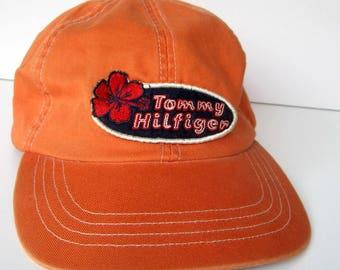 Vintage Tommy Hilfiger Baseball Cap - 1980's - Orange hat, Summer hat, Hibiscus, Tropical, Adjustable strap, Patch, 100% Cotton, Accessory