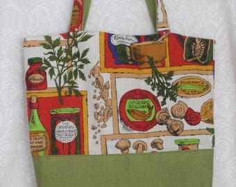 Shopping Bag. Handmade .14 in H X 17 inch Wide X 3 inch Deep.Market Theme Cotton & Polyester Fabrics. Pretty Gift