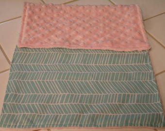Aqua Herringbone Baby Burp Cloth 11 x 20 READY TO SHIP