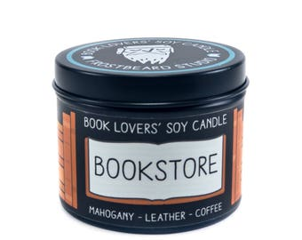 Bookstore - 4 oz Book Lovers' Soy Candle -  Book Lover Gift - Scented Soy Candle - Frostbeard Studio
