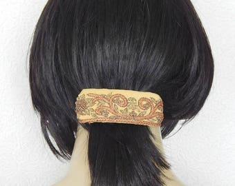 CLEARANCE - Gold multi  hair barrette,embroidered barrette, floral barrette, fabric barrette, hair accessory, fashion accessory