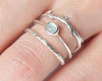 Peruvian Blue Opal Twig Ring Set |  Nature Inspired Rings