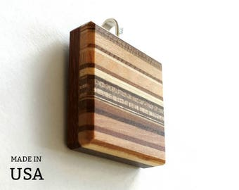 Large Wood Pendant, Minimalist Modern Natural Wood Jewelry Gift for Her, Gift for Him, Large Square Striped Pattern, Made in USA
