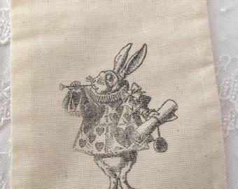 White Rabbit Muslin Bags, Alice in Wonderland Muslin Bags  Set of 10