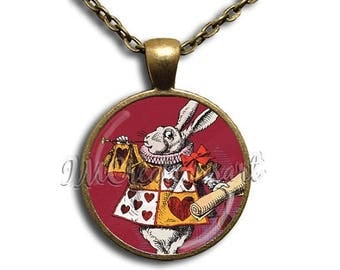 25% OFF - Alice In Wonderland Rabbit in Red - Round Glass Dome Pendant or with Necklace by IMCreations - AW111