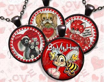 Retro Valentine Glass Pendant Necklace Jewelry Bundle Gift Party Favors Grab Bag Bulk Discount