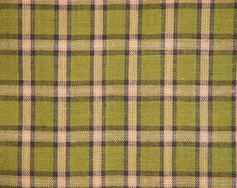 Homespun Fabric | Plaid Fabric | Primitive Cotton Fabric | Quilt Fabric | Sewing Fabric | Green, Black And Brown Large Plaid Fabric | 1 Yard