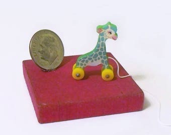 Green TooTall Giraffe Dollhouse Miniature Pull Toy