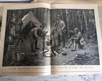 Antique Illustration Colliers Weekly 1901 Deer Hunters Camping in the North Woods of Maine A B Frost