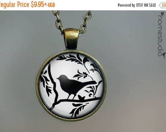 ON SALE - Aviary (BLK) : Glass Dome Necklace, Pendant or Keychain Key Ring. Gift Present metal round art photo jewelry by HomeStudio