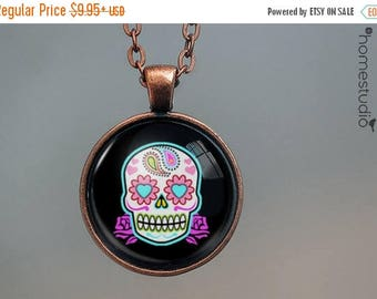 ON SALE - Sugar Skull (BLK) : Glass Dome Necklace, Pendant or Keychain Key Ring. Gift Present metal round art photo jewelry by HomeStudio