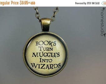 ON SALE - Book Wizard : Glass Dome Necklace, Pendant or Keychain Key Ring. Gift Present metal round art photo jewelry by HomeStudio