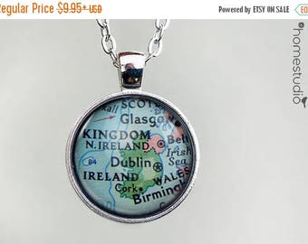 ON SALE - Ireland Map : Glass Dome Necklace, Pendant or Keychain Key Ring. Gift Present metal round art photo jewelry by HomeStudio