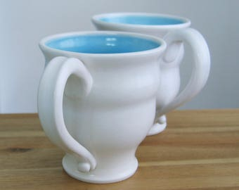 Large Coffee Mugs, Handmade Wheel Thrown Stoneware Pottery Cups in Lagoon Blue and White, Set of 2, 16 oz.