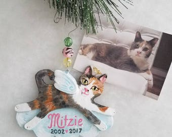 Cat Memorial Ornament ~ Cat Angel Ornament ~ Custom Cat Portrait ~ Cat Memorial ~ Cat Portrait Ornament ~ Cat Memorial Gift