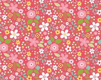 EXTRA15 20% OFF Riley Blake Designs Garden Girl by Zoe Pearn - Floral Raspberry