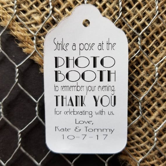 Strike a pose Photo Booth Favor Tag MEDIUM Personalized Wedding photo prop Favor Tag  choose your amount