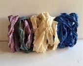 Silk Sari Ribbon-Antique White & Lavender/BluePurple Mix Sari Ribbon-9 Yards