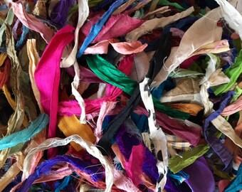 Silk Sari Ribbon Scraps-Multi Colored Sari Ribbon Remnants