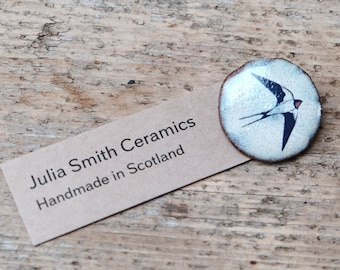 Small Ceramic Swooping Swallow Brooch