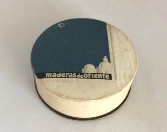 "Powder box, art deco design, Maderas de Oriente, from Barcelona, Spain, 1"" x 3"" round box, bath decor, 1930s era box, cardboard box"