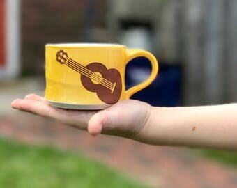Kid sized mug. Porcelain kid's mug. Children's mug. Mango glazed cup - guitar. Montessori mug. First birthday present. Kid dishes. Waldorf.