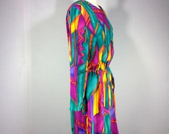 wrap style dress,  80s psychedlic wrap style dress, Caron  Origional Dress of Cgicago dress, private label dress,Rainbow Dress